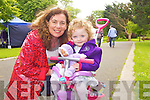 Treasa Walsh and Caragh Kelliher (both Tralee) enjoying the activities at Féile na mBláth in the Tralee Town Park on Friday.