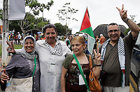 A group of Palestine wave free Palestineparticipated  during the World Social Forum on January 31, 2009 in Belem, Para, northern Brazil.