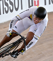 CALI – COLOMBIA – 19-02-2017: Fabian Puerta de Colombia en la prueba de 200 metros Velocidad hombres en el Velodromo Alcides Nieto Patiño, sede de la III Valida de la Copa Mundo UCI de Pista de Cali 2017. / Fabian Puerta from Colombia in the 200 meters Men´s Sprint Race at the Alcides Nieto Patiño Velodrome, home of the III Valid of the World Cup UCI de Cali Track 2017. Photo: VizzorImage / Luis Ramirez / Staff.