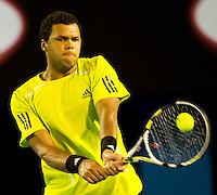 Jo-Wilfried Tsonga (FRA) (10) against Novak Djokovic (SRB) (3) in the Quarter Finals of the Mens Singles. Tsonga beat Djokovic 7-6 6-7 1-6 6-3 6-1..International Tennis - Australian Open Tennis -  Wednesday 27th  Jan 2010 - Melbourne Park - Melbourne - Australia ..© Frey - AMN Images, 1st Floor, Barry House, 20-22 Worple Road, London, SW19 4DH.Tel - +44 20 8947 0100.mfrey@advantagemedianet.com
