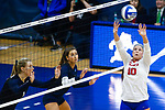 PENSACOLA, FL - DECEMBER 09: Bethany Besancenez (10) of Florida Southern College sets the ball during the Division II Women's Volleyball Championship held at UWF Field House on December 9, 2017 in Pensacola, Florida. (Photo by Timothy Nwachukwu/NCAA Photos via Getty Images)