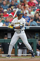 Michigan Wolverines designated hitter Jordan Nwogu (42) at bat during Game 1 of the NCAA College World Series against the Texas Tech Red Raiders on June 15, 2019 at TD Ameritrade Park in Omaha, Nebraska. Michigan defeated Texas Tech 5-3. (Andrew Woolley/Four Seam Images)
