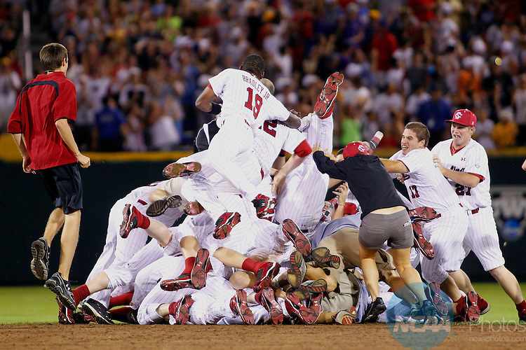 29 JUNE 2010:  The University of South Carolina celebrates their victory against UCLA during the Division I Men's Baseball Championship held at Rosenblatt Stadium in Omaha, NE.  South Carolina defeated UCLA 2-1 for the national title.  Jamie Schwaberow/NCAA Photos