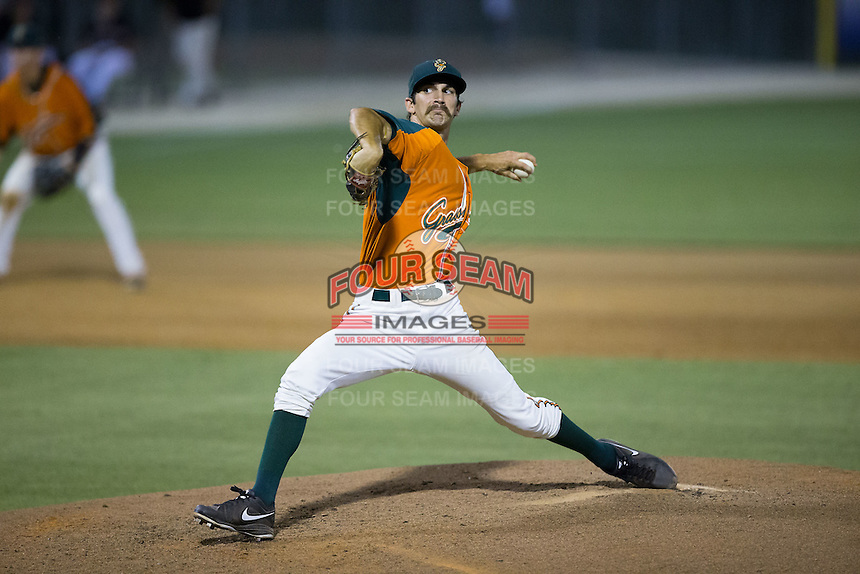 Greensboro Grasshoppers relief pitcher James Buckelew (8) in action against the Kannapolis Intimidators at CMC-Northeast Stadium on June 11, 2015 in Kannapolis, North Carolina.  The Intimidators defeated the Grasshoppers 7-6.  (Brian Westerholt/Four Seam Images)