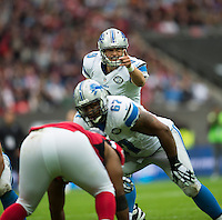 26.10.2014.  London, England.  NFL International Series. Atlanta Falcons versus Detroit Lions. Lions' QB Matthew Stafford [9] in action.