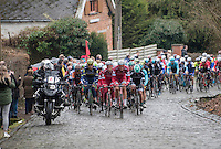 Tony Martin (DEU/Katusha-Alpecin) &amp; his teammates setting the pace at the front of the peloton up the Kruisberg<br /> <br /> 69th Kuurne-Brussel-Kuurne 2017 (1.HC)