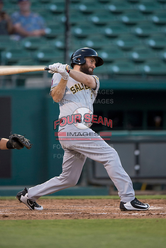 Salt Lake Bees second baseman Dustin Ackley (16) follows through on his swing during a Pacific Coast League game against the Fresno Grizzlies at Chukchansi Park on May 14, 2018 in Fresno, California. Fresno defeated Salt Lake 4-3. (Zachary Lucy/Four Seam Images)