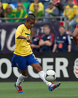 Brazilian forward Grazielle (16) passes the ball. In an international friendly, Canada defeated Brasil, 2-1, at Gillette Stadium on March 24, 2012.