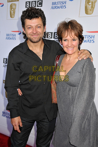 ANDY SERKIS & LORRAINE ASHBOURNE .7th Annual BAFTA TV Tea Party held at the Intercontinental Hotel, Century City, California, USA..September 19th, 2009.half length black shirt grey gray silver dress couple .CAP/ADM/BP.©Byron Purvis/AdMedia/Capital Pictures.