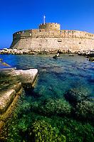 Fort St. Nicholas (15th century), Mandraki Harbor, Rhodes Town, Rhodes, Dodecanese, Greece