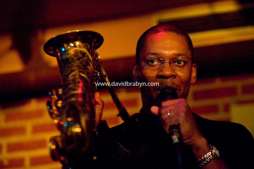 Saxophonist Ravi Coltrane performs at the Sunset jazz club in Paris, France, 17 July 2004.<br />