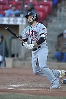 Quad Cities River Bandits designated hitter Jake Adams (23) swings at a pitch against the Cedar Rapids Kernels at Veterans Memorial Stadium on April 7, 2018 in Cedar Rapids, Iowa. The Kernels won 4-3.  (Dennis Hubbard/Four Seam Images)
