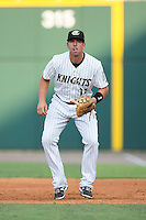 Charlotte Knights first baseman Chris Marrero (14) on defense against the Durham Bulls at BB&T BallPark on July 22, 2015 in Charlotte, North Carolina.  The Knights defeated the Bulls 6-4.  (Brian Westerholt/Four Seam Images)