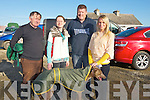 WAITING:  Walking their dog around before the semi -finals of the Lixnaw Coursing in Lixnaw on Sunday l-r: Christy, Aine and John O'Connor and Margaret O'Connor Lawlor (Ballyduff).............