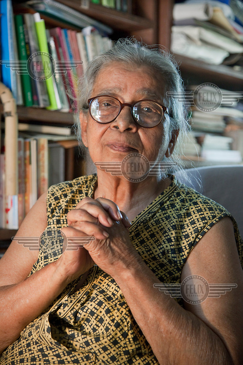 Mahasweta Devi in her Kolkata home and office. She is one of India's best-known activists and writers. She has produced both fiction and non-fiction books dealing with the plight of India's poor and dispossessed, especially women and Adivasis (India's indigenous tribes). In addition to her writing, she has led numerous protests and actions against Indian government policies that oppress the poor.