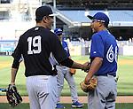 Masahiro Tanaka (Yankees), Munenori Kawasaki (Blue Jays),<br /> JUNE 18, 2014 - MLB : Japan's Masahiro Tanaka (L) of the New York Yankees shakes hands with Japan's Munenori Kawasaki of the Toronto Blue Jays (R) before the Major League Baseball game at Yankee Stadium in the Bronx, NY, USA.<br /> (Photo by AFLO)