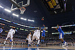07 April 2014: Andrew Harrison (5) of the University of Kentucky shoots against the University of Connecticut during the 2014 NCAA Men's DI Basketball Final Four Championship at AT&T Stadium in Arlington, TX. Connecticut defeated Kentucky 60-54 to win the national title. Peter Lockley/NCAA Photos