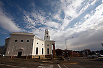 COLESBERG - 12 July 2014 - The Dutch Reformed Church in Colesberg, inaurgurated in August 1866, is a national monument and a major landmark of the Karoo town of Colesberg. This view is from President Kruger Street. Picture: Allied Picture Press/APP