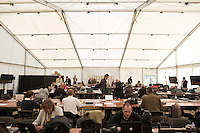 Around 70,000 people celebrate open-air mass at Bellahouston park, Glasgow for the visiting Pope Benedicte XVI on the first state visit to Scotland...Media work in the press tent at Bellahouston.