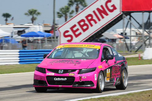 20 March, 2015, Sebring, Florida, USA<br /> #44 Sarah Cattaneo, Owen Trinkler, Honda Civic Si<br /> © 2015, Mark Weber, ESCP