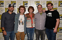 SAN DIEGO COMIC-CON© 2019:  L-R: 20th Century Fox Television and Hulu's Solar Opposites Executive Producer Josh Bycel, Cast Members Sean Giambrone and Mary Mack, and Co-Creators/Executive Producers Mike McMahan and Justin Roiland during the SOLAR OPPOSITES press room on Friday, July 19 at the SAN DIEGO COMIC-CON© 2019. CR: Frank Micelotta/20th Century Fox Television
