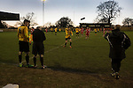 The home team prepare to make a substitution during the second-half at Lye Meadow as Alvechurch (in amber) hosted Highgate United in a Midland Football League premier division match. Originally founded in 1929 and reformed in 1996 after going bust, the club has plans to move from their current historic ground to a new purpose-built stadium in time for the 2017-18 season. Alvechurch won this particular match by 3-0, watched by 178 spectators, taking them back to the top of the league.