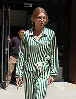 www.acepixs.com<br /> <br /> April 13 2017, New York City<br /> <br /> Model Gigi Hadid wears striped pajamas and geeky glasses as she leaves her East Village apartment on April 13 2017 in New York City<br /> <br /> By Line: Curtis Means/ACE Pictures<br /> <br /> <br /> ACE Pictures Inc<br /> Tel: 6467670430<br /> Email: info@acepixs.com<br /> www.acepixs.com