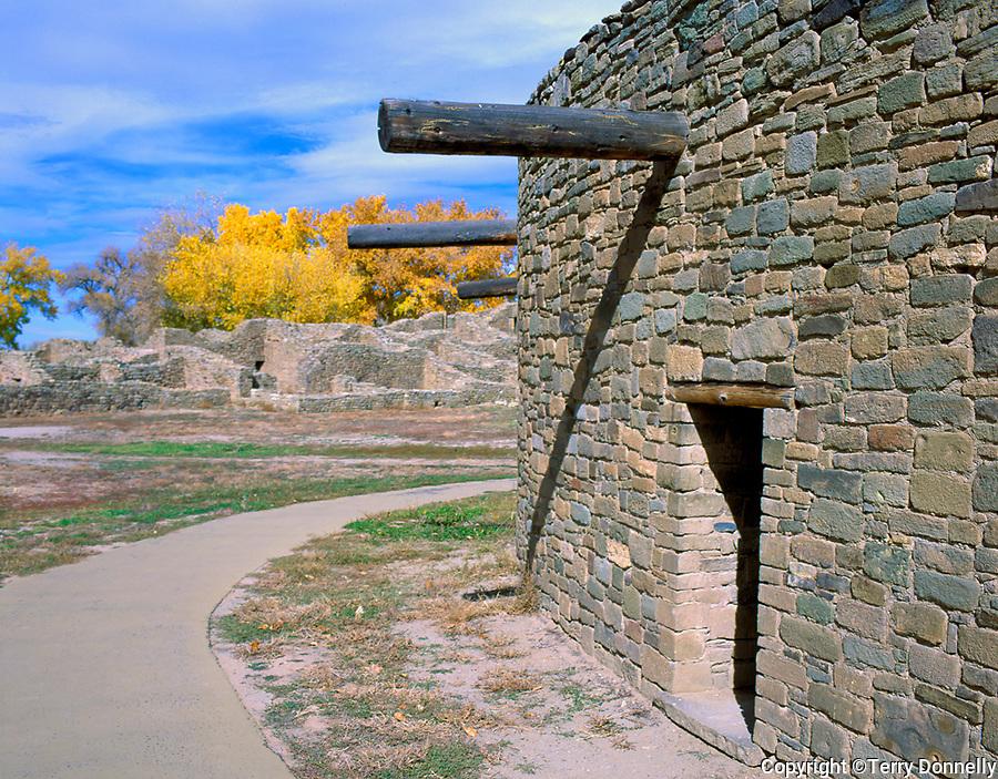 Aztec Ruins Nat'l Monument, NM   <br /> Circular exterior walls of the Great Kiva w/distant pueblo ruins