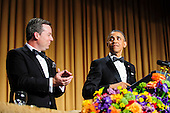 United States President Barack Obama is introduced by White House Correspondents' Association (WHCA) president Ed Henry during the White House Correspondents' Association (WHCA) annual dinner in Washington, District of Columbia, U.S., on Saturday, April 27, 2013..Credit: Pete Marovich / Pool via CNP