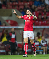 Raphael Rossi Branco of Swindon Town celebrates scoring his goal during the The Checkatrade Trophy match between Swindon Town and Chelsea U23 at the County Ground, Swindon, England on 13 September 2016. Photo by Andy Rowland.