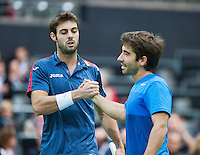 14-02-13, Tennis, Rotterdam, ABNAMROWTT,  Marcel Granollers   Marc Lopez(r)