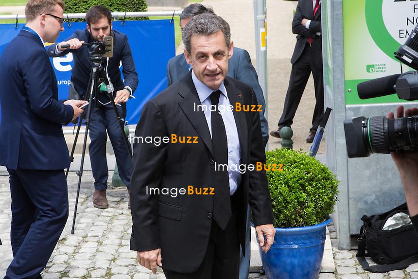 Nicolas Sarkozy,  Pr&eacute;sident des R&eacute;publicains, arrive au Sommet du Parti Populaire Europ&eacute;en (PPE), &agrave; Bruxelles.<br /> Belgique, Bruxelles, 28 juin 2016<br /> Nicolas Sarkozy attends The European People&rsquo;s Party Summit, in Brussels.<br /> Belgium, Brussels, 28 June 2016
