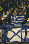 Everton 3 Larissa 1, 25/10/2007. Goodison Park, Europa League Group A. Greek fans inside Goodison Park, Liverpool for the UEFA Cup Group A match between AE Larissa and Everton. Everton beat the Greek team by three goals to one on the opening night of group matches in the UEFA Cup. It was the first meeting between the two clubs. Photo by Colin McPherson.