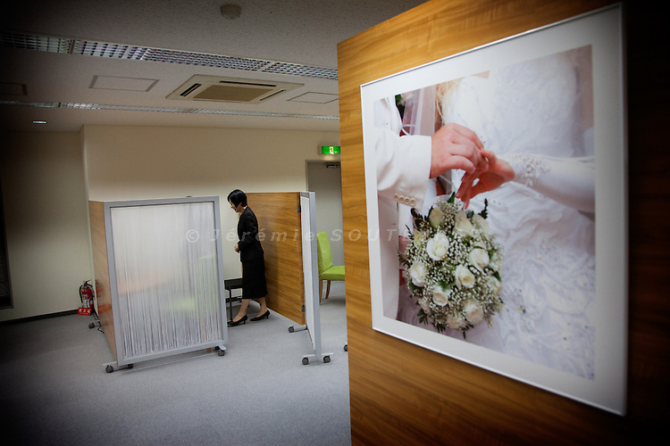 Tokyo -  June 2, 2010 - Konkatsu, the Japanese marriage Hunting. Onet matchmaking agency in Shibuya.