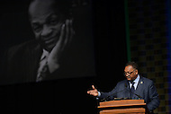 Washington, DC - December 6, 2014: Rev. Jesse Louis Jackson gives the eulogy at the memorial service for councilman and former District of Columbia mayor Marion Barry Jr. at the Washington Convention Center, December 6, 2014. Barry, who died at his home, was a civil rights activist, first chair of the Student Nonviolent Coordinating Committee (SNCC), and a four-term mayor.  (Photo by Don Baxter/Media Images International)