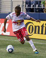 New York Red Bulls forward Dane Richards dribbles the ball during play against the Seattle Sounders FC at Qwest Field in Seattle Saturday June 23, 2011. The Sounders won the game 4-2.