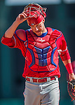11 March 2016: Philadelphia Phillies catcher Logan Moore in action during a Spring Training pre-season game against the Atlanta Braves at Champion Stadium in the ESPN Wide World of Sports Complex in Kissimmee, Florida. The Phillies defeated the Braves 9-2 in Grapefruit League play. Mandatory Credit: Ed Wolfstein Photo *** RAW (NEF) Image File Available ***