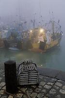 Europe/France/Poitou-Charentes/17/Charente-Maritime/La Rochelle: Aube sur le port chalutier et casier de pêche à crustacé