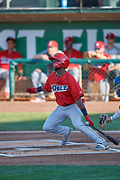 D'Shawn Knowles (32) of the Orem Owlz at bat against the Ogden Raptors at Lindquist Field on July 27, 2019 in Ogden, Utah. The Raptors defeated the Owlz 14-1. (Stephen Smith/Four Seam Images)