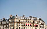 FRANCE, Paris, a typical Parisian building facade and blue sky