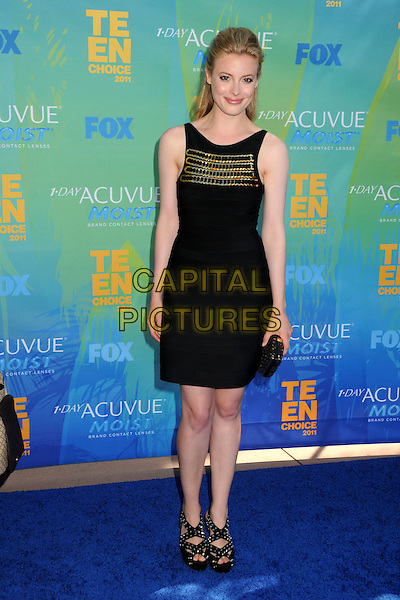 Gillian Jacobs.2011 Teen Choice Awards - Arrivals held at Gibson Amphitheatre, , Universal City, California, USA..August 7th, 2011.full length black sleeveless dress gold.CAP/ADM/BP.©Byron Purvis/AdMedia/Capital Pictures.