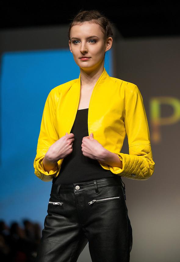 Hong Kong Fashion Week.<br /> Singaporean Designer Nairana Ormsby for Pelle presents a catwalk show in the Hong Kong Convention and Exhibition Centre.<br /> Hong Kong SAR,China.14th January 2014.<br /> Hong Kong. Date-14.01.14