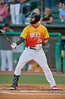 Kaleb Cowart (24) of the Salt Lake Bees at bat against the Oklahoma City Dodgers at Smith's Ballpark on August 1, 2019 in Salt Lake City, Utah. The Bees defeated the Dodgers 14-4. (Stephen Smith/Four Seam Images)