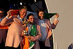 Irish players, Darren Clarke, Paul McGinley and Padraig Harrington, part of the victorious European Team, hold the Ryder Cup during the closing ceremony of the 2006 Ryder Cup at The K Club..Photo: Eoin Clarke/Newsfile.