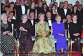 """""""The President's House: A Bicentennial Tribute"""" composed by John Tatgenhorst is performed for the first time by the United States Marine Band at the 200th Anniversary of the White House Dinner in Washington, D.C. on November 9, 2000.  Watching the performance from left to right in the front row are: Former first lady Barbara Bush, former first lady Lady Bird Johnson, first lady Hillary Rodham Clinton, former first lady Betty Ford, and former first lady Rosalynn Carter.  Seated behind the first ladys are, from left to right: former U.S. President George H.W. Bush, U.S. President Bill Clinton, former U.S. President Gerald R. Ford, and former U.S. President Jimmy Carter.  Chelsea Clinton is standing behind President Clinton.<br /> Credit: Ron Sachs / CNP"""