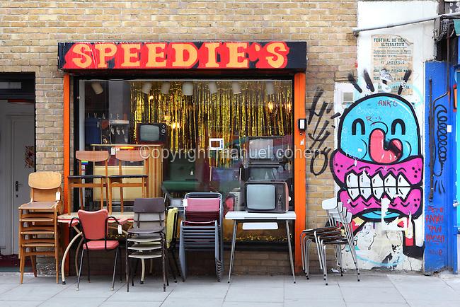 Vintage furnitures store, Brick Lane area, London, UK. Picture by Manuel Cohen