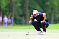 Peter Uihlein eyes up his putt on the 16th green during the BMW PGA Golf Championship at Wentworth Golf Course, Wentworth Drive, Virginia Water, England on 27 May 2017. Photo by Steve McCarthy/PRiME Media Images.