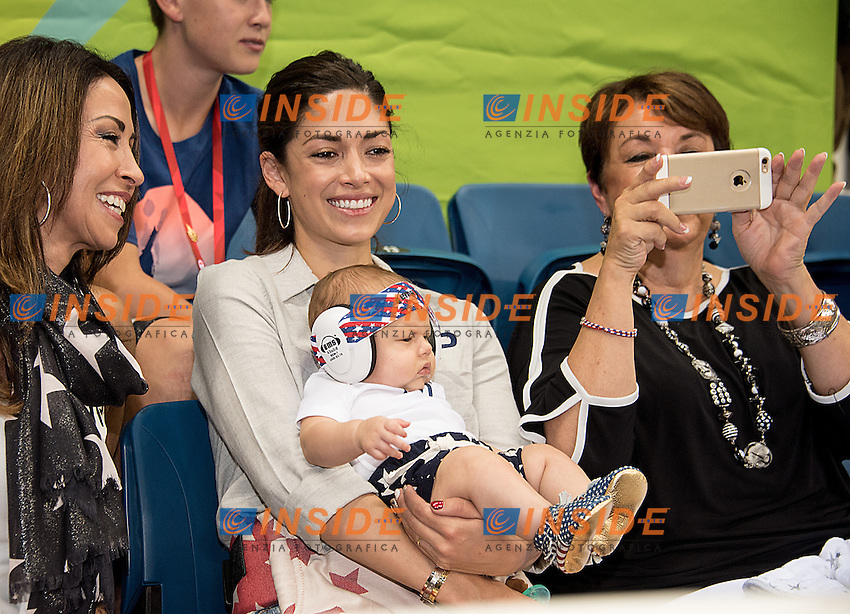 Special spectators on the stand for Michael Phelps: his fiance Nicole Johnson with their baby Boomer and Debbie, Michael's mum<br /> Rio de Janeiro  XXXI Olympic Games <br /> Olympic Aquatics Stadium <br /> swimming finals 08/08/2016<br /> Photo Giorgio Scala/Deepbluemedia/Insidefoto