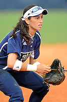 11 February 2012:  FIU's Jessy Alfonso (8) prepares to field a ball as the University of Massachusetts Minutewomen defeated the FIU Golden Panthers, 3-1, as part of the COMBAT Classic Tournament at the FIU Softball Complex in Miami, Florida.