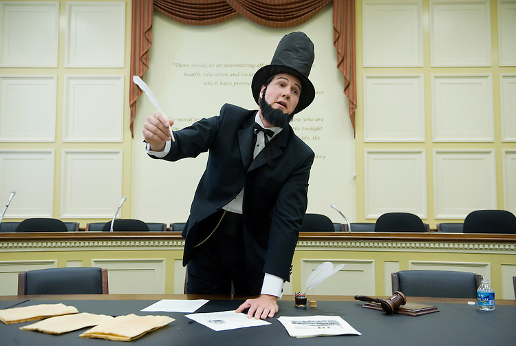 Michael Shank, dressed as Abraham Lincoln, gives a talk to kindergarten students from Oyster Elementary in NW, during a class trip to the Hill, June 10, 2010.  Shank is communications director for Rep. Mike Honda, D-Calif.